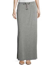 Neiman Marcus Drawstring French Terry Maxi Skirt Heather Gray