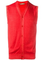 Cruciani V Neck Sleeveless Cardigan Red
