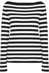 Michael Kors Collection Striped Cotton Jersey Top Black