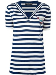 Dolce And Gabbana Cocktail Patch Striped Top Blue