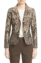 Lafayette 148 New York Women's 'Debbie' Animal Jacquard Blazer Espresso Multi