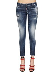 Dsquared Jennifer Army Fade Cotton Denim Jeans Blue