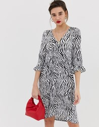 Soaked In Luxury Zebra Print Dress With Fluted Sleeves Multi