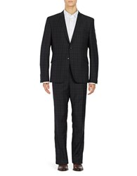Strellson Plaid Wool Suit Set Black