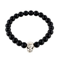 Latelita London Skull Bracelet Sterling Silver Matte Black Black Silver