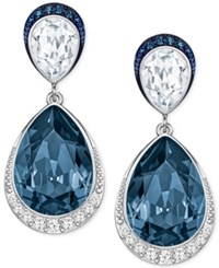 Swarovski Silver Tone Teardrop Crystal And Pave Drop Earrings