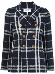 Derek Lam 10 Crosby Peaked Lapels Tweed Jacket Blue