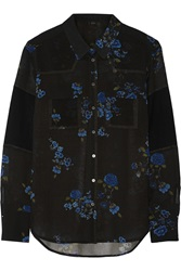 Belstaff Minna Floral Print Wool Blend Top Blue