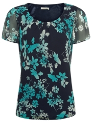 Jacques Vert Butterfly Flower Belted Top Multi Navy