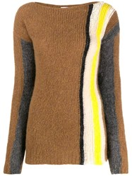 Tela Colour Block Knitted Jumper Brown
