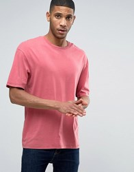 Jack And Jones T Shirt In Oversized Drop Shoulder Fit Syrah Red