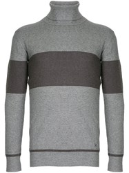 Guild Prime Striped Turtleneck Sweater Rayon Nylon Polyester Grey