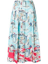 Blugirl Printed Cropped Palazzo Trousers Blue
