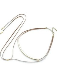 Love Rocks Gold Tone Metal And Suede Choker Light Pink Gold