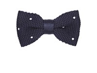 Penrose London Dotted Silk Bow Tie Navy