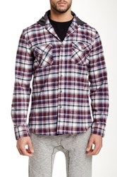 Micros Shriner Hooded Long Sleeve Plaid Shirt Red