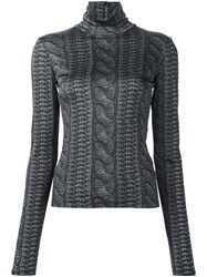 Christian Siriano Cable Knit Print Roll Neck Top Black