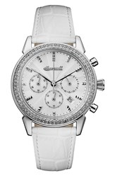 Ingersoll Watches Women's Crystal Accent Chronograph Leather Strap Watch 35Mm White Silver