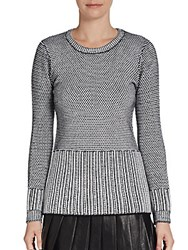 Saks Fifth Avenue Red Mixed Knit Wool Blend Sweater Black White