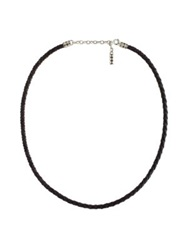John Hardy Woven Leather Necklace Sterling Silver Black Leather