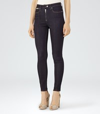 Reiss Francis Womens High Rise Zip Front Jeans In Blue
