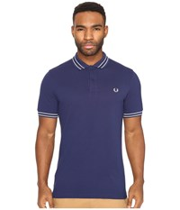 Fred Perry Tramline Tipped Pique Shirt French Navy Men's Clothing