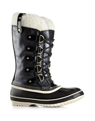 Sorel Joan Of Arctic Holiday Shearling Trimmed Leather And Suede Mid Calf Boots Black