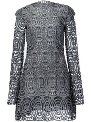 Christian Siriano Embroidered Lace Dress Grey