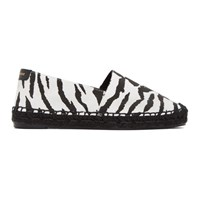 Saint Laurent Black And White Embroidered Canvas Espadrilles
