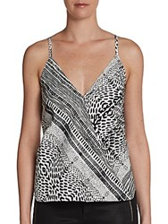 Saks Fifth Avenue Red Tribal Print Camisole Top Black White
