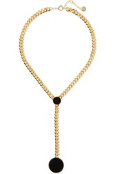 Arme De L'amour Gold Plated Enamel Necklace Black Usd