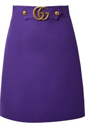 Gucci Embellished Wool And Silk Blend Skirt Violet