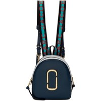 Marc Jacobs Navy And Grey Logo Strap Pack Shot Backpack