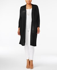 Alfani Plus Size Linen Duster Cardigan Only At Macy's Deep Black