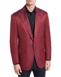 Stefano Ricci Solid Silk Dinner Jacket Red