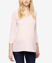 A Pea In The Pod Maternity V Neck Linen Top Subtle Pink