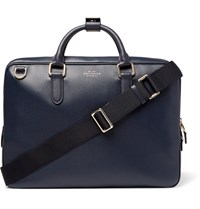 Smythson Burlington Grained Leather Briefcase Navy