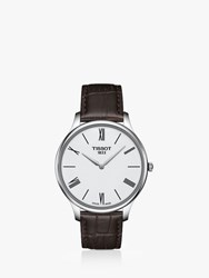 Tissot T0634091601800 'S T Classic Tradition 5.5 Leather Strap Watch Brown Silver