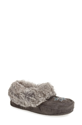 Manitobah Mukluks 'Kanada' Genuine Rabbit Fur Shearling And Suede Moccasin Women Charcoal