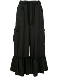Cinq A Sept Cropped Ruffle Hem Trousers Black