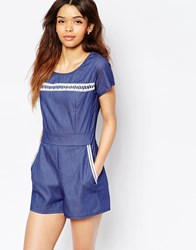 Wal G Playsuit With Lace Detail Denim Blue