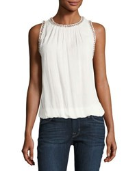 Bishop Young Beaded Trim Crepe Tank White
