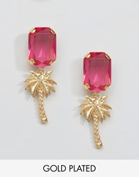 Gogo Philip Gold Plated Palm Tree Gem Earrings Pink Gold