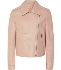 Reiss Margo Bonded Leather Jacket In Apricot