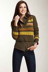 Lulu Combination V Neck Sweater Green