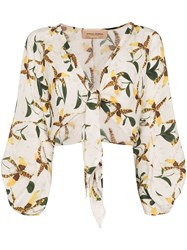 Adriana Degreas Orchid Print Tie Front Top 60