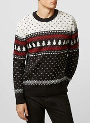 Topman Black Tree Crew Neck Christmas Jumper