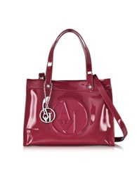 Armani Jeans Bordeaux Faux Patent Leather Tote