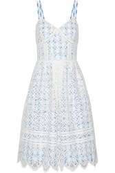 Draper James Pointelle Trimmed Lace And Gingham Cotton Blend Dress White