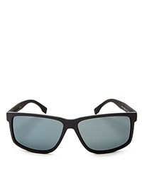 Hugo Boss Carbon Polarized Rectangle Sunglasses 60Mm Black